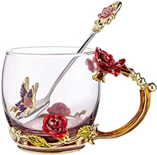 NBWUYUE Mother's Day Gifts For Mom Tea Cup Coffee Mug Cups Clear Glass With Spoon Set Unique Rose Flower Enamel Design Valentine's Day Birthday Decoration Wedding Gift (Short Red)