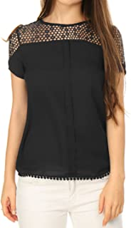Women's Short Sleeves Semi Sheer Center Pleated Guipure Lace Top