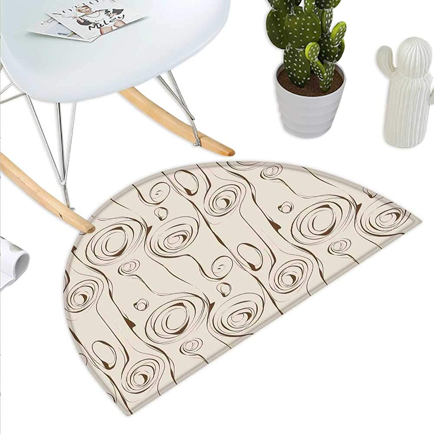 Contemporary Semicircle Doormat Scribble Spirals greenical Swirl Lines and Circles Bizarre Modern Pattern Halfmoon doormats H 47.2  xD 70.8  Beige and Brown