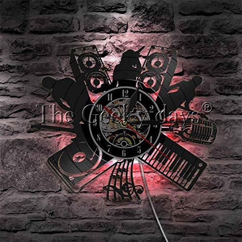 DJ melodía cantante rock banda jazz silueta led noche música instrucciones vintage vinilo disco reloj con luz LED noche