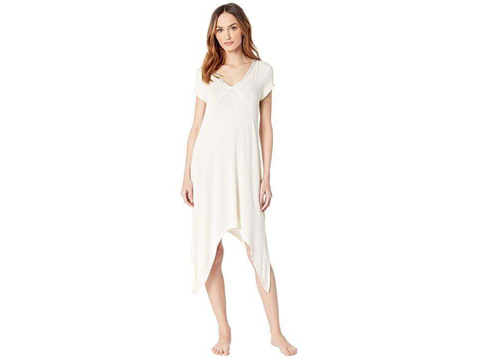 Mod-o-doc Rayon Spandex Slub Jersey Short Sleeve V-Neck Night Gown with Satin Trim (Ivory) Women