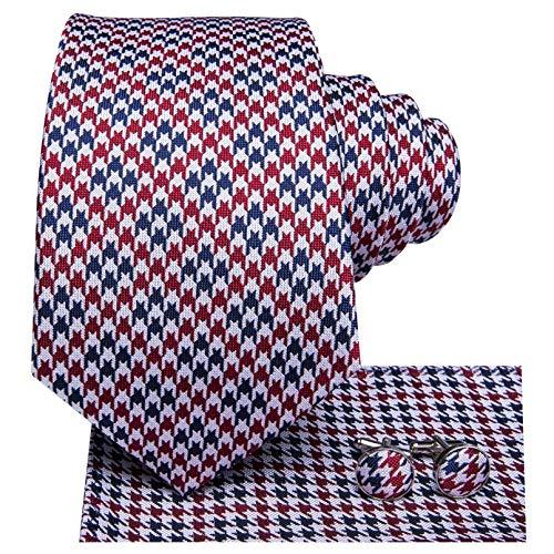 GPZFLGYN Corbata roja para hombre, corbata de seda sólida a cuadros de...