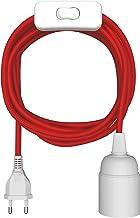 ledscom.de textiele kabel LEHA met stekker, schakelaar en E27-contactdoos, rood, 3m