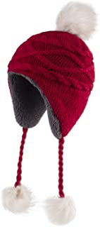 Home Prefer Girls Sherpa Earflaps Hat Kids Winter Hat Cable Knit Pom Beanie Fuzzy Peruvian Hat Red M