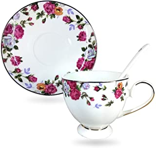 Annocasa Bone China Cappuccino Cup and Saucer Set With Coffee Spoon - 7 Ounce Espresso Cups With Attractive Flower Design