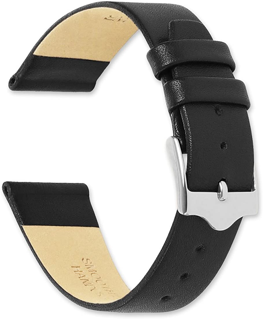 Calf Leather Watch band flat Black Max 59% OFF deBeer It is very popular - Watchband 12mm by
