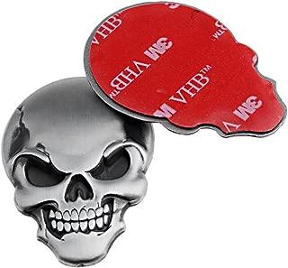 2X Cool Chrome Silver 3D Skull Demon Bone Badge Emblem Sticker Fender For Buick Cadillac Chevrolet Dodge GMC Ford Jeep Chrysler