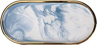 LYOMALL ジュエリーディッシュオーガナイザートレイ セラミック大理石トレイ ゴールド付き 化粧台 浴室 カウンター収納 楕円形 ドレッサープレート ホームインテリア (ブルー)