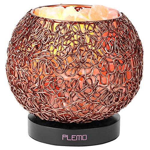 PLEMO Lampada da Tavolo Dimmerabile con Sale Naturale dell'Himalaya (ca.) 1,8 kg - Lampadina di Ricambio - Paralume di Alluminio - Cavo e Adattatore Certificato