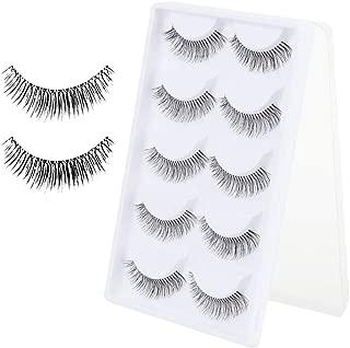 Electomania 5 Pairs Cotton Stalk Natural Long False Eyelashes (Black, 109)