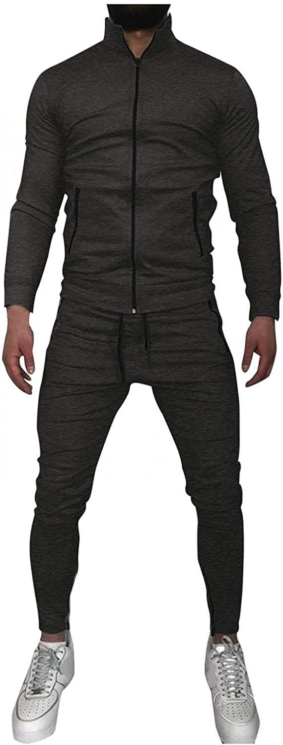 Beppter Mens 2 Piece Tracksuits Stand Collar Full Zipper Coat Long Pants Casual Running Jogging Sports Outfits Tops