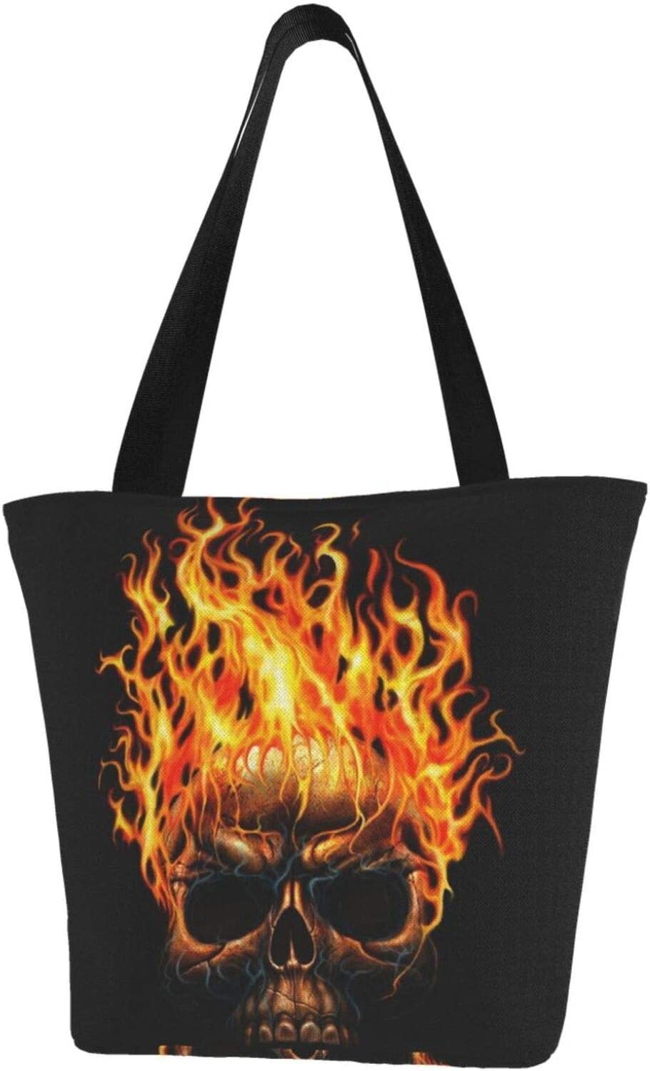 AKLID Skull Fire Head Super beauty product restock quality top! Extra Large Tote 4 years warranty Canvas Resistant Water Ba