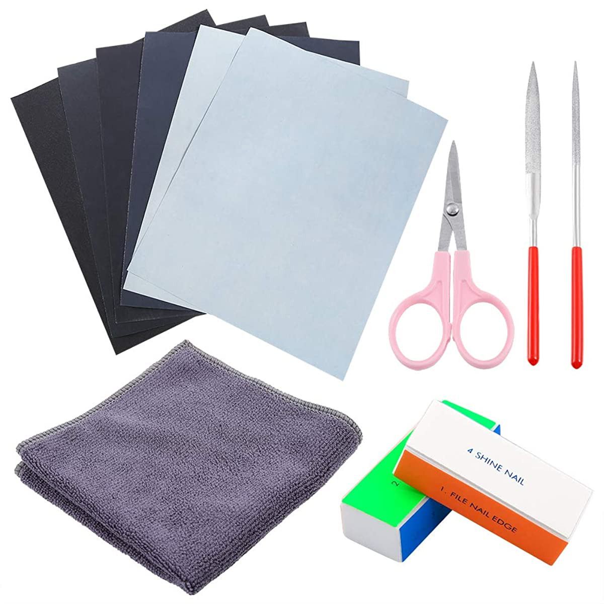 Sntieecr 12 Pieces Resin Casting Molds Tools Set, Include Sand Papers, Polishing Blocks, Polishing Cloth, Round File, Semicircular File and Scissors for Polishing Epoxy Resin Jewelry Making Supplies