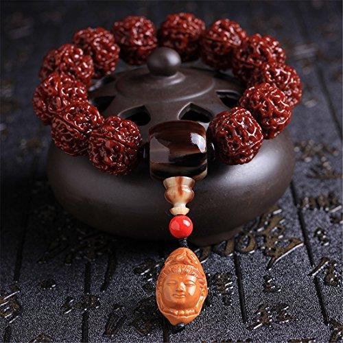 ZSY Home Tibetano Budista Bodhi Semilla Pulsera Muñeca Mala Anillo Mano Cadena Rojo Oscuro - Buda Retrato de Cabeza Casa Coche Oficina Bolso Decoración Oración Rosario por Yoga Meditación