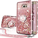 Galaxy Note 5 Case, Silverback Moving Liquid Holographic Sparkle Glitter Case with Kickstand, Bling Diamond Bumper W/Ring Slim Samsung Galaxy Note 5 Case for Girls Women -Rose Gold W