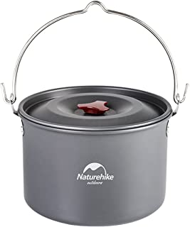 Naturehike 4-6 Person Hanging Pot Covered Aluminum Pots for Outdoor Camping Large 4 Liler/1.06 Gallon