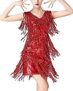 Guiran Mujer Vestido Baile De Sal/ón Latino Tango con Lentejuelas Y Flecos Fiesta C/óctel Danza Ropa