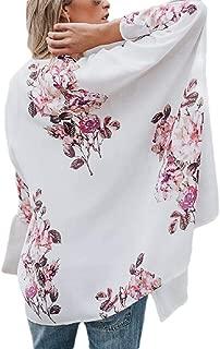 Women Floral Print Chiffon Swimwear Bikini Cover Up Kimono Cardigan