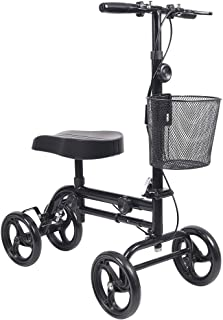 Knee Scooter, Give Me Steerable Knee Walker Crutch Alternative with Basket and Dual Hand Brake (Black)