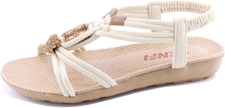 SENFI Women Summer Bohemia Elastic Strappy String Sandals