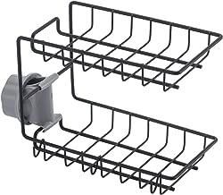 Double Layer Kitchen Sink Caddy, Rustproof and Durable Metal Kitchen Sink Sponge Brush Holder for Soap Dishwashing Liquid Drainer,Black