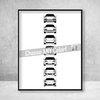 Porsche 911 Poster Print Wall Art of the History and Evolution of the 911 Generations (Porsche Car Models: 901, G Series, 964, 993, 996, 997, 991)