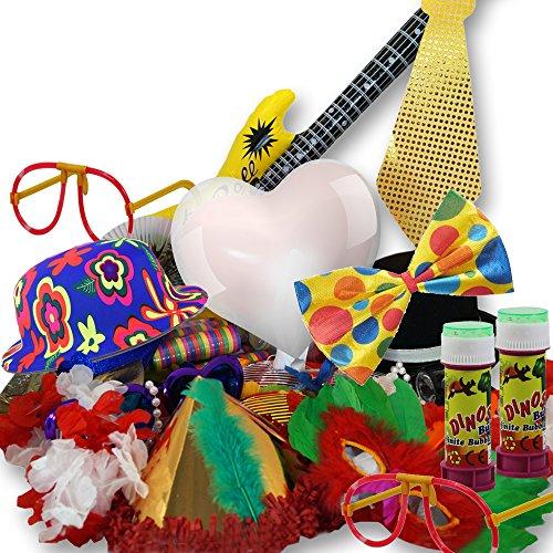 Photo Booth Verkleidung 59 tlg. Set – PORTOFREI möglich - inklusive Nerdbrille, LED- Leuchtbrille, Zylinder-Hut, Luftschlange, große Fliege, Hawaiiblumenkette, Gangsterhut, Stoff, Streifenlook, Krawatte mit Pailletten, aufblasbare Gitarre, riesen Sonnenbrille, Plastik-Perlenketten, Federmaske, asiatischer Fächer, Seifenblase, roter Herz-Luftballon, Hütchen metallisiert, Hibiskus Blume, Hawaiiset