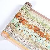 KNMY Washi Tape Set 12 rollos de cinta adhesiva decorativa colorida para scrapbooking, uso para diario, manualidades, decoración de regalo, suministros de arte para niños, color amarillo