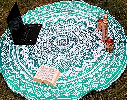 raajsee Tela Redonda de Mandala Estilo Hippie,de diseño Indio Bohemio, Ideal como Colcha, Tapiz Decorativo, Mantel o Toalla de Playa, para meditación y Yoga, 175 cm, algodón, Verde, 70 in