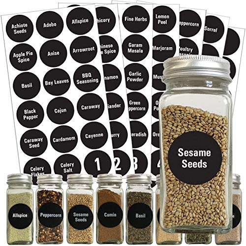 Talented Kitchen Round Spice Labels - 126 Preprinted Chalkboard Spice Labels Sticker. Chalk, Water Resistant, Write-On, Reusable, Spice Jar Label f/Spice Organization Storage (Set of 126- Chalkboard)