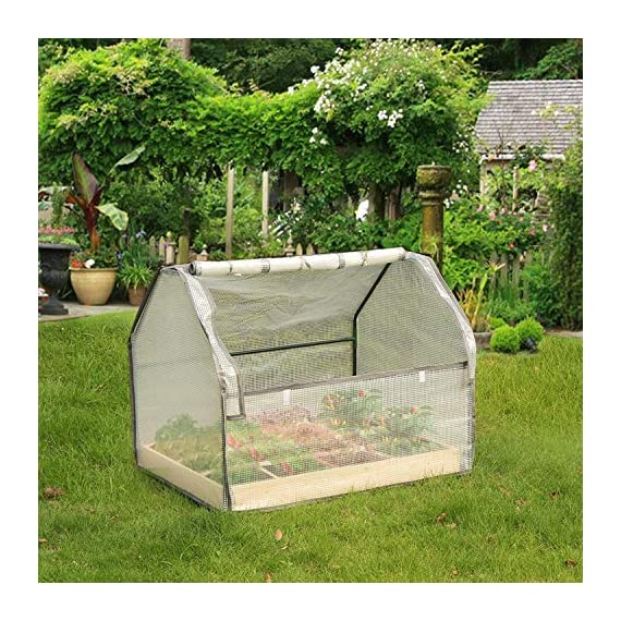 """Solid wood raised garden bed set for vegetable/flower/fruit 48"""" l×22"""" w×30"""" h box nature wood (raised garden bed) 5 material - translucent mesh-like pe cloth that prevents direct sunlight on the basis of easy observation of plant growth. The support tube is made of metal and is equipped with a plastic connection. No installation tools, easy to install and stable. Combined design - this wood raised garden bed can be combined with our other greenhouse to ensure the plant cultivation temperature throughout the greenhouse. The greenhouse and the raised garden are connected by metal buckles,the included installation tool can be easily installed. Special design - the product is equipped with a viewing port and can be opened and closed by a zipper. The product is equipped with a viewing port and can be opened and closed by a zipper. Facilitate observation of plant growth status and watering plants"""