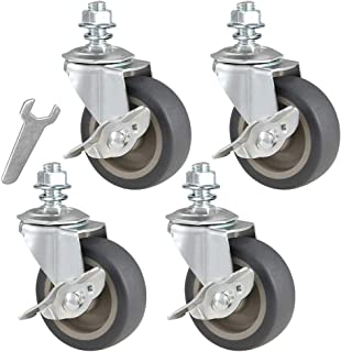 FixtureDisplays 2 Inch 88 lbs Capacity PU Stem Wheel M10X15 Stem 360 Degree Rotation Swivel Furniture Caster Black Stem Wheel Locking Castor 88 lbs Load Capacity Each Stem Wheel 400750-4PK-FBA