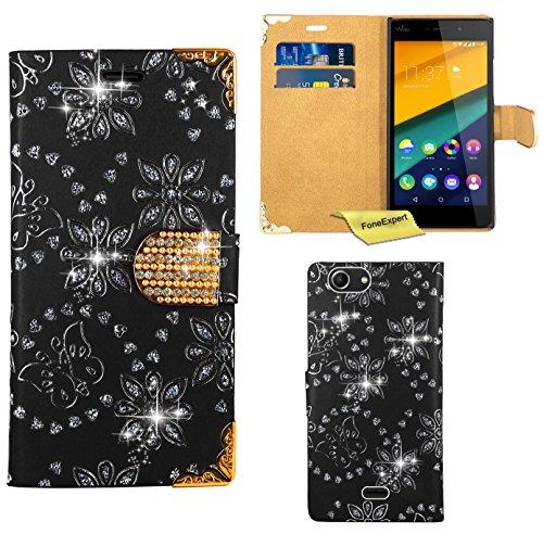 FoneExpert® Wiko Pulp Fab Handy Tasche, Bling Diamant Hülle Wallet Hülle Cover Hüllen Etui Ledertasche Premium Lederhülle Schutzhülle für Wiko Pulp Fab
