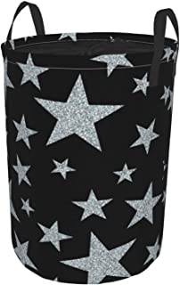 ZOMOY Grand Organiser Paniers pour Vêtements Stockage,Étoiles d'argent sur Fond Noir,Panier à Linge en Tissu,Imperméable,P...