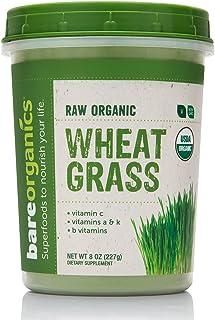 BareOrganics Wheatgrass Powder   Organic, Vegan, Non-GMO, BPA-Free   Vitamin C, B, A & K, 8oz