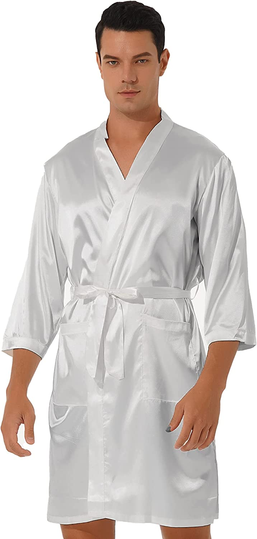Shinsto Men's Satin Kimono Robe Silk Long Sleeve Summer Bathrobe Pockets Nightgown Robes