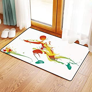 Non-Slip Mat Microfiber Bathroom Rug Shower Mat, Teen Decor,Young Man Playing Soccer Football Athlete Game Cham, Ultra Soft and Water Absorbent Bath Rug,Machine Wash/Dry 16x 24 inches