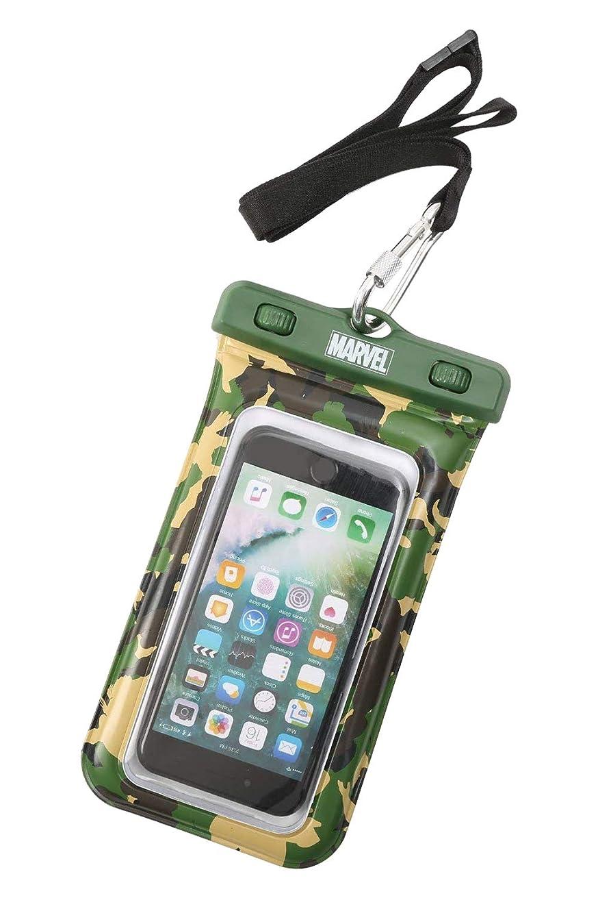 袋スナック植物学DIVAID 水に浮く iPhone 防水ケース スマホ MARVEL マーベル ロゴ iPhone7 iPhone6s iPhone5s IP68 / カモフラ