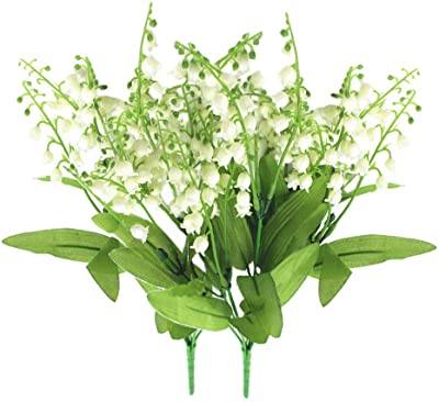 2Pack Artificial Bellflower Flower 7Forks Fake Lily Fower Faux Plants Silk Spring Peach Flowers Bouquets for Home Wedding Decoration Photography Props (Green)