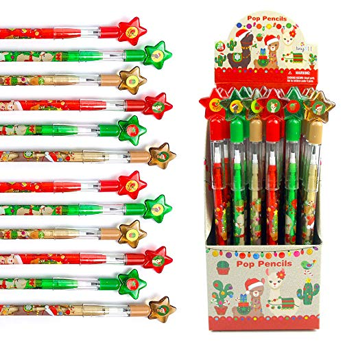 TINYMILLS 24 Pcs Christmas Multi Point Stackable Push Pencil Assortment with Eraser