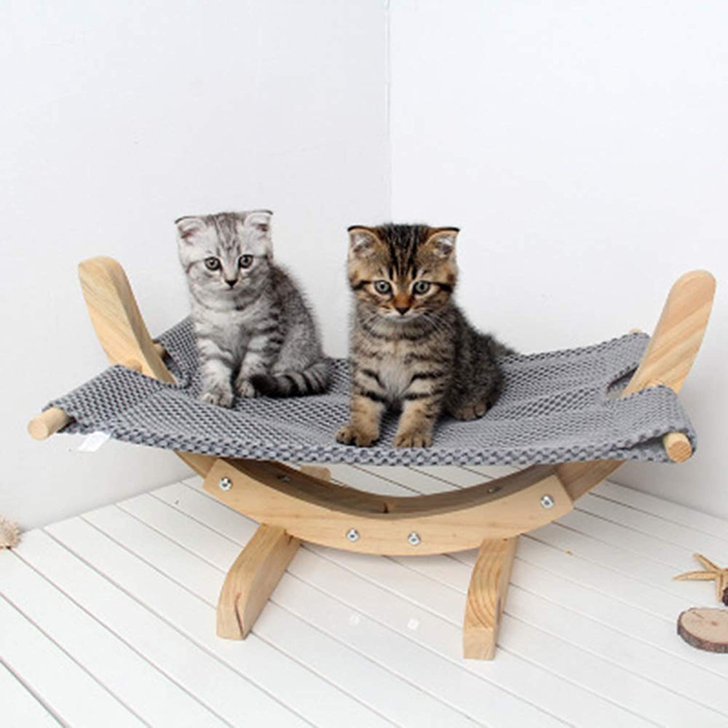 Cat and Dog DIY Assembled Swing Bed Solid Wood Mesh Breathable Cat Cradle Pet Supplies Dog Hammock 57x33X29cm