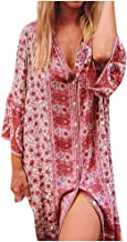 Women's Boho Floral Print Long Sleeve Loose Long Maxi Tunic Dress Vintage Printed Ethnic Style Shift Dress LIM&Shop