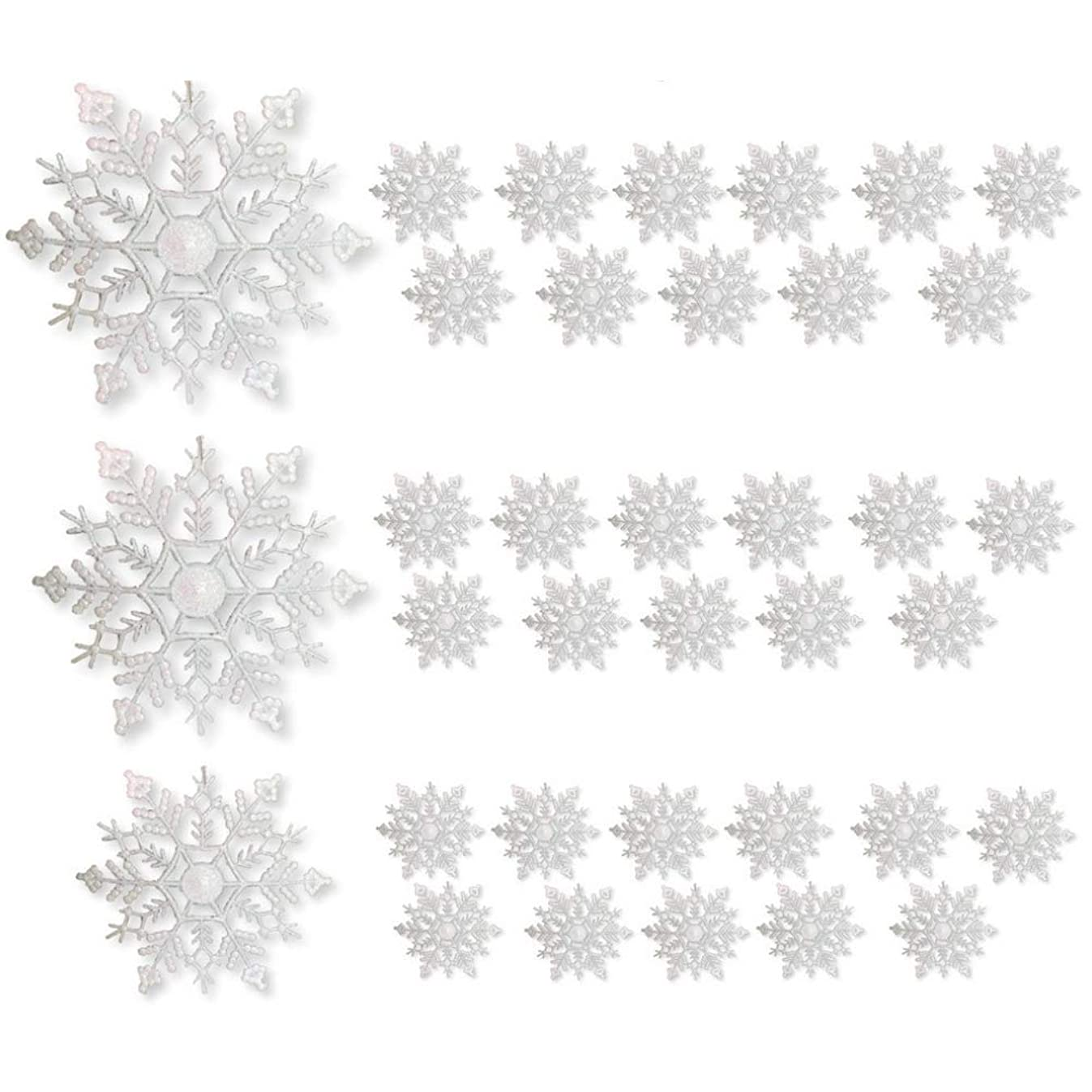 BANBERRY DESIGNS White Snowflake Christmas Ornaments - Pack of 36 White Glittered Snowflake Ornaments - Assorted Sizes - Iridescent White Christmas Snow Flakes