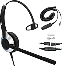 Deluxe Single Ear Headset with Noise Canceling Microphone and Cable for Avaya IP 1608, 1616, 9601, 9608, 9611, 9611G, 9620, 9621, 9630, 9631, 9640, 9641, 9650, 9670, J139, J169 and J179 Phones