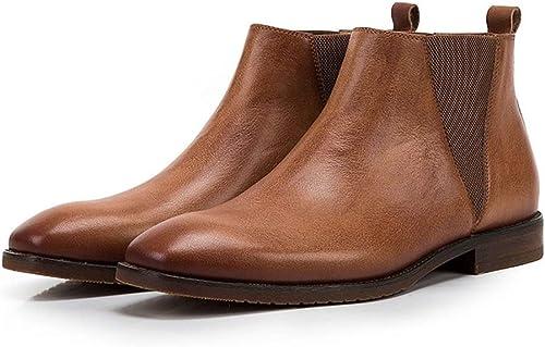 Qiusa Slip on Chelsea botas para Hombre botas de Suela Blanda de Charol Pulido (Color   amarillo, tamaño   EU 39)