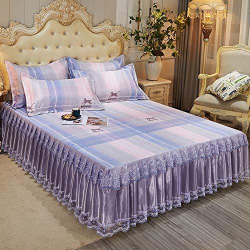 GCC Zomer Koele Bedsprei Lakens, Zacht Comfortabel Koel Plissé Bed Rokken Opvouwbare Dubbele Plat Beddengoed 3-delige Set Met 2* Kussensloop