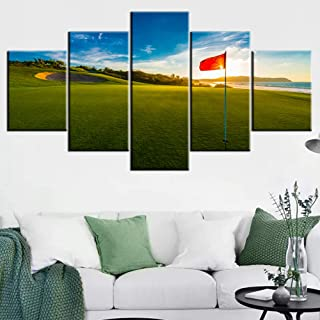 Living Room Decorations for Wall Golf Course Pictures Red Flags Paintings Landscape Artwork 5 Piece Green Canvas Wall Art House Modern Decor Framed Giclee Ready to Hang Posters and Prints(60''Wx32''H)