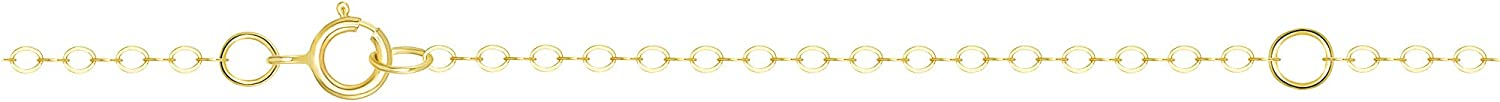 TousiAttar 14k Gold Filled Cable Chain Necklace 16 Inches + 2 Extension Jewelry Pendant Gift 18