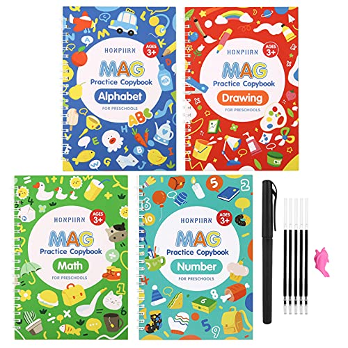 Magic Practice Copybook for Kids - Handwriting Practice for Kids,Reusable Tracing Groovebook for Preschoolers,Ages 3-6 Letter Writing Drawing (4Books wirh Pen)