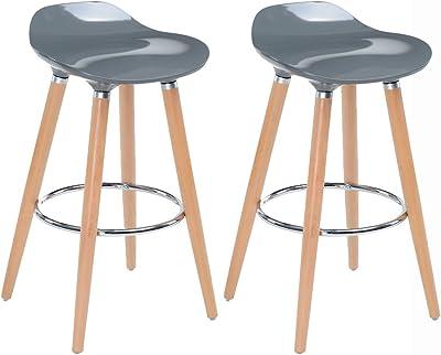 Woltu bh45ws 2 sgabelli da bar sedia cucina con schienale ecopelle